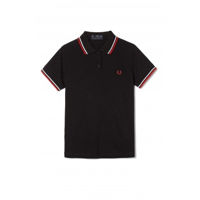 Fred Perry Women´s Shirt Twin Tipped Black, Red & White