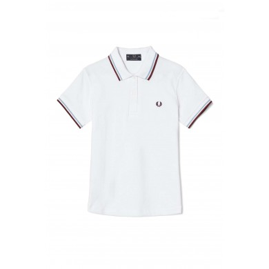 Fred Perry Women´s Shirt Twin Tipped White, Ice & Maroon