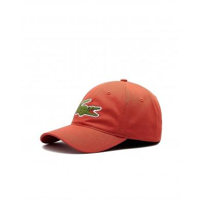 Lacoste Contrast Strap Crocodile Cotton Cap Light Red