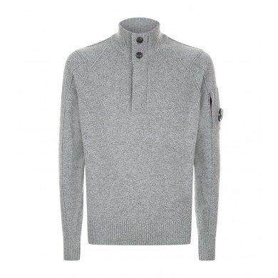 C.P. Company Lambswool Lens Half Button Sweater Grey