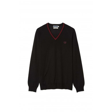 Fred Perry Reissues Merino Tipped V-Neck Jumper Black