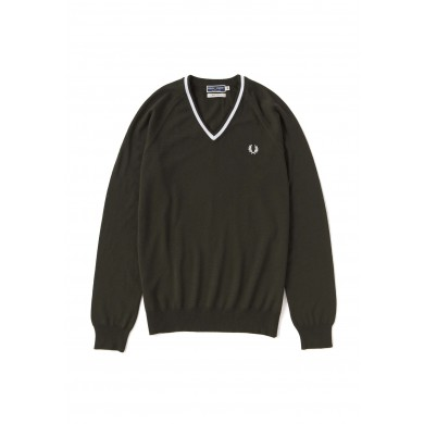 Fred Perry Reissues Merino Tipped V-Neck Jumper Thorn
