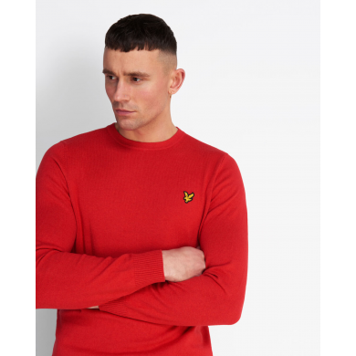 Lyle & Scott Cotton Merino Crew Neck Jumper Gala Red Marl