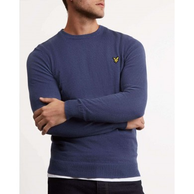 Lyle & Scott Cotton Merino Crew Neck Jumper Indigo Blue