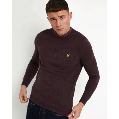 Lyle & Scott Cotton Merino Crew Neck Jumper Berry Marl