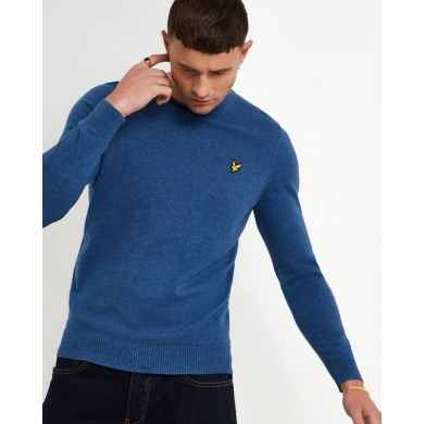 Lyle & Scott Cotton Merino Crew Neck Jumper Lapis Blue Marl