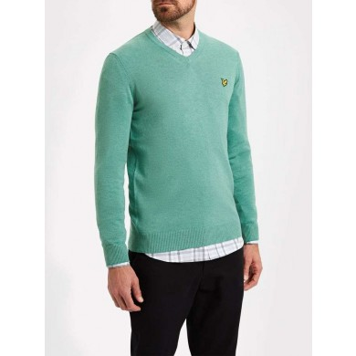 Lyle & Scott Cotton Merino V Neck Mid Green