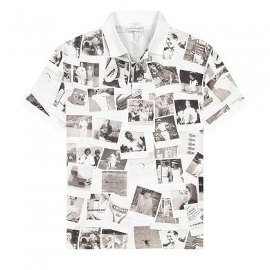 Lacoste x Polaroid Loose Fit Print Polo Shirt White & Black