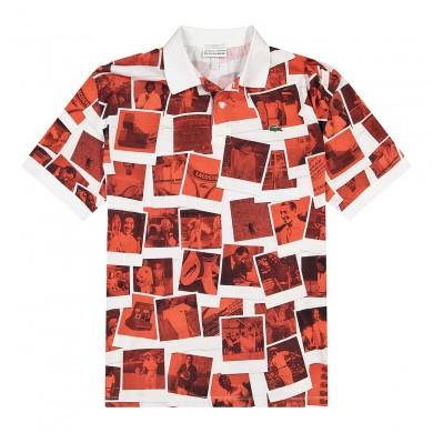 Lacoste x Polaroid Loose Fit Print Polo Shirt White & Red