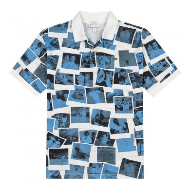 Lacoste x Polaroid Loose Fit Print Polo Shirt White & Blue