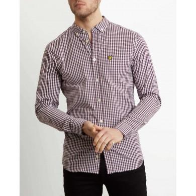 Lyle & Scott Slim Fit Gingham Shirt Burgundy