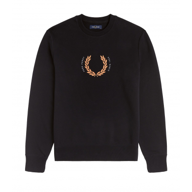 Fred Perry Embroidered Logo Sweat Laurel Wreath Black