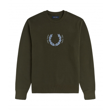 Fred Perry Embroidered Logo Sweat Laurel Wreath Dark Green