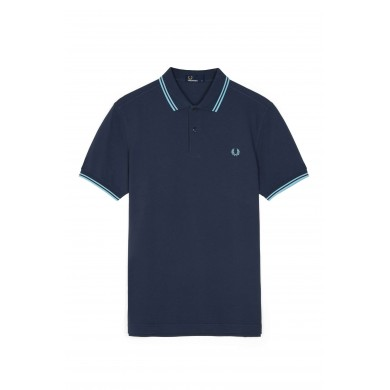 Fred Perry Slim Fit Twin Tipped Polo Dark Airforce & Sky