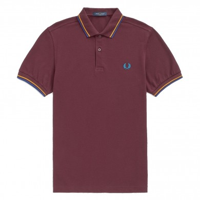Fred Perry Slim Fit Twin Tipped Polo Mahogany, Amber & Nautical Blue