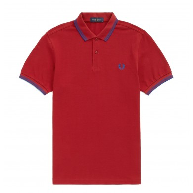 Fred Perry Slim Fit Twin Tipped Polo Deep Red & Cobalt