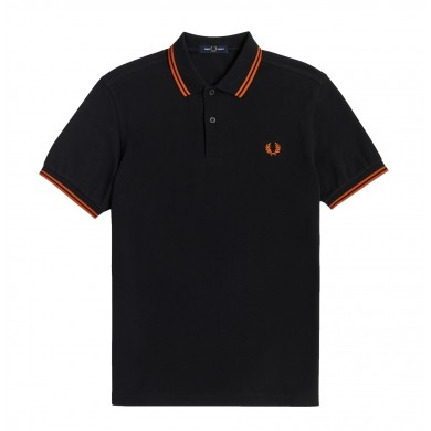 Fred Perry Slim Fit Twin Tipped Polo Black & Rust