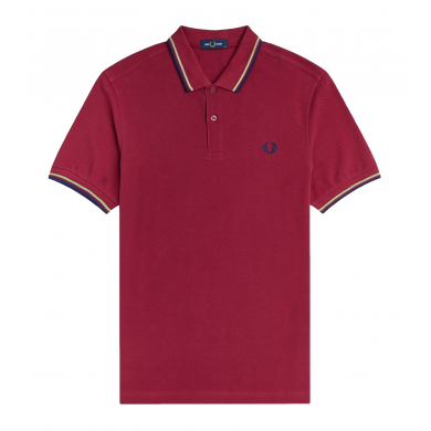 Fred Perry Slim Fit Twin Tipped Polo Claret, Willow & French Navy