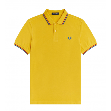 Fred Perry Slim Fit Twin Tipped Polo Yellow, Red & Blue