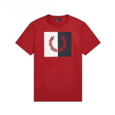 Fred Perry Split Wreath Logo Tee Rich Red