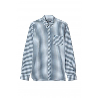Fred Perry Reissues Gingham Shirt Enamel Blue
