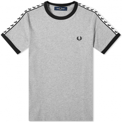 Fred Perry Authentic Taped Ringer Tee Steal Marl