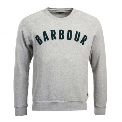 Barbour Prep Logo Crew Mens Sweatshirt Grey Marl