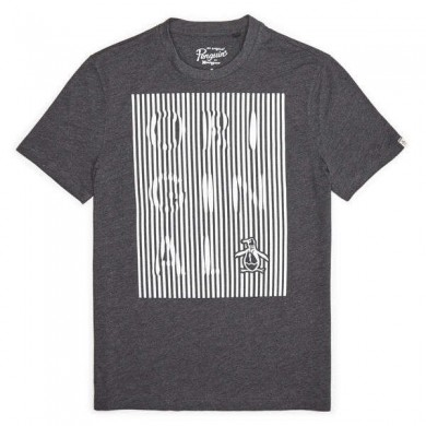 Original Penguin Displaced Stripe T-Shirt Charcoal