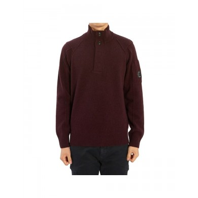 C.P. Company Lambswool Lens Half Button Sweater Bitter Chocolate