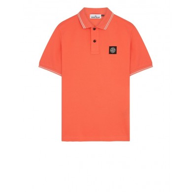 Stone Island 22S18 Patch Program Polo Shirt Orange Red