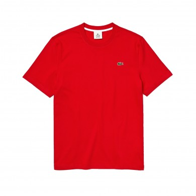 Lacoste Live Back Print Cotton Tee Red & White