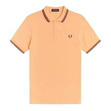 Fred Perry Slim Fit Twin Tipped Polo Light Coral & Mahogany