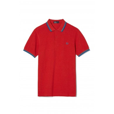 Fred Perry Slim Fit Twin Tipped Polo Deep Red Marl, Bright Lagoon & Atlantic