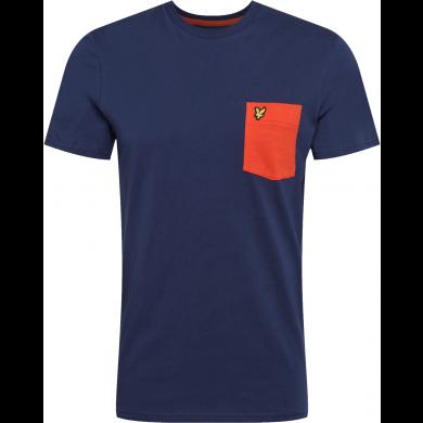 Lyle & Scott Contrast Pocket Tee Lichen Navy & Orange