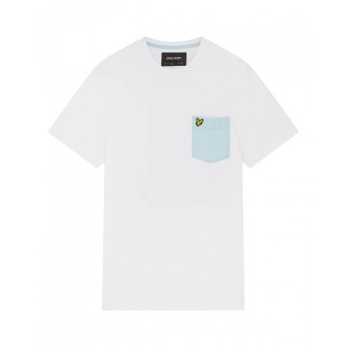 Lyle & Scott Contrast Pocket Tee Lichen White & Deck Blue
