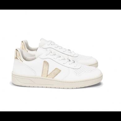 Veja V-10 Leather Basketball Sneaker White & Platine