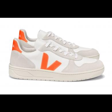 Veja V-10 B-Mesh Sneaker White, Natural & Orange Fluo
