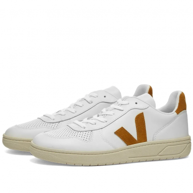 Veja V-10 Leather Basketball Sneaker White & Camel