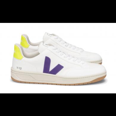Veja V-12 B-Mesh Sneaker White, Purple & Yellow