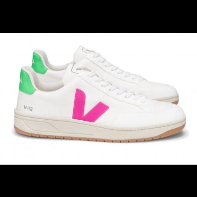 Veja V-12 B-Mesh Sneaker White, Pink & Fluo Green