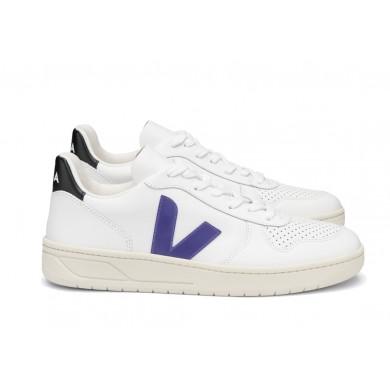 Veja V-10 Leather Basketball Sneaker White & Purple