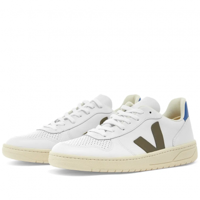 Veja V-10 Leather Basketball Sneaker White & Khaki