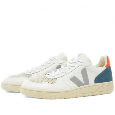 Veja V-10 Leather Basketball Sneaker White, Grey & Navy