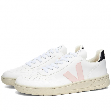 Veja V-10 Leather Basketball Sneaker White & Pink