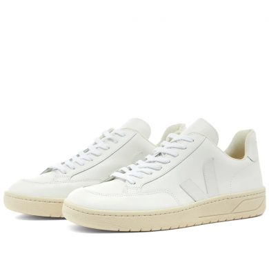 Veja V-12 Leather Sneaker Triple White