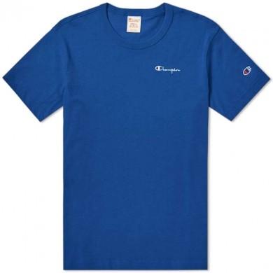 Champion Reverse Weave Small Script Logo Tee Royal Blue