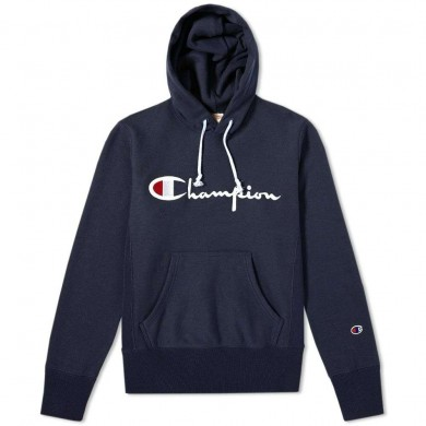 Champion Reverse Weave Script Logo Hoody Navy