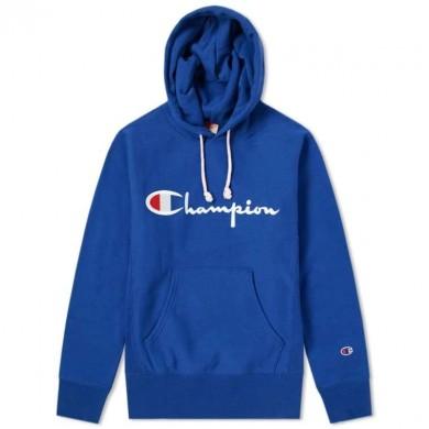 Champion Reverse Weave Script Logo Hoody Royal Blue