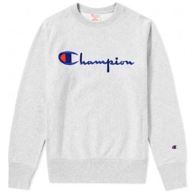 Champion Reverse Weave Script Logo Crew Sweat Grey Marl