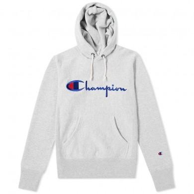 Champion Reverse Weave Script Logo Hoody Grey Marl